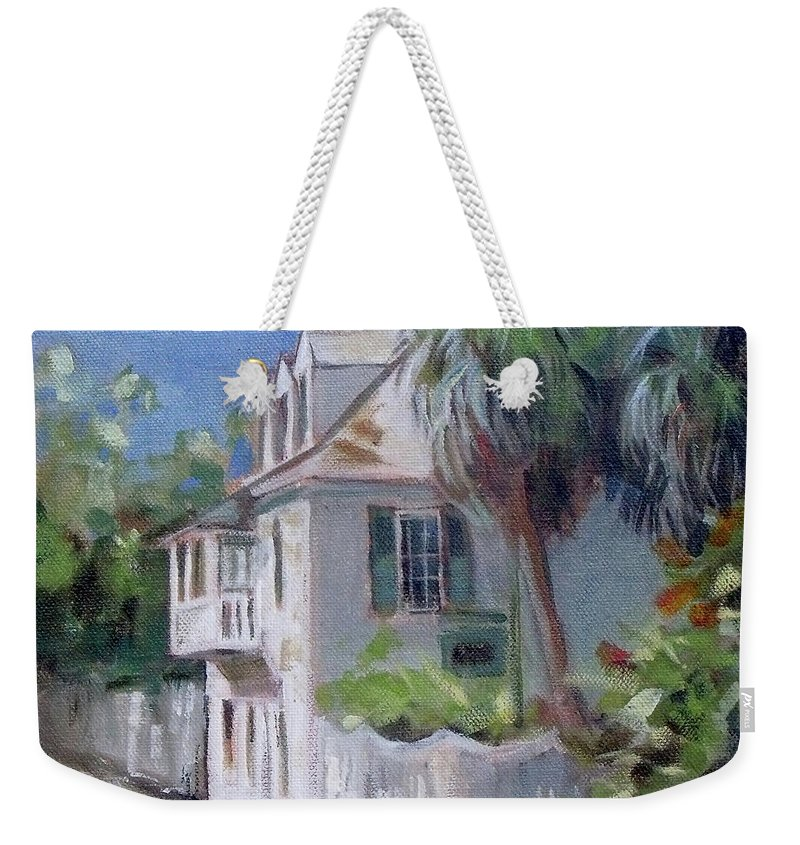 Doodlefly Weekender Tote Bag featuring the painting St. Augustine Aviles Street Florida by Mary Hubley
