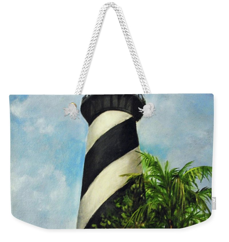 Lighthouse Weekender Tote Bag featuring the painting St. Augustine Lighthouse by Carolyn Shireman