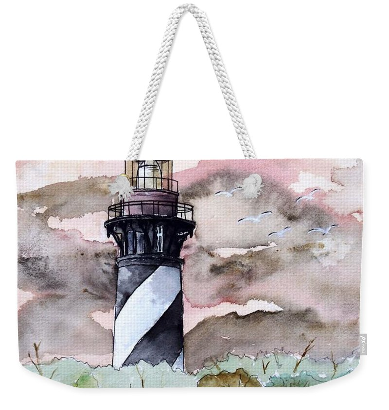 Lighthouse Weekender Tote Bag featuring the painting St Augustine Lighthouse by Derek Mccrea