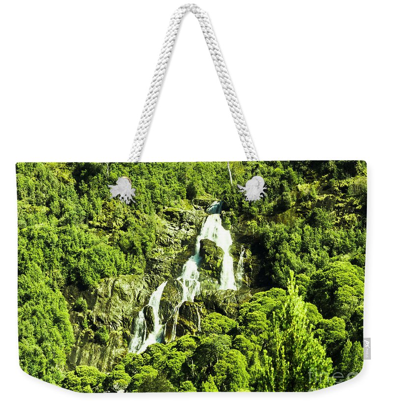 Waterfall Weekender Tote Bag featuring the photograph St Columba Falls Tasmania by Jorgo Photography - Wall Art Gallery