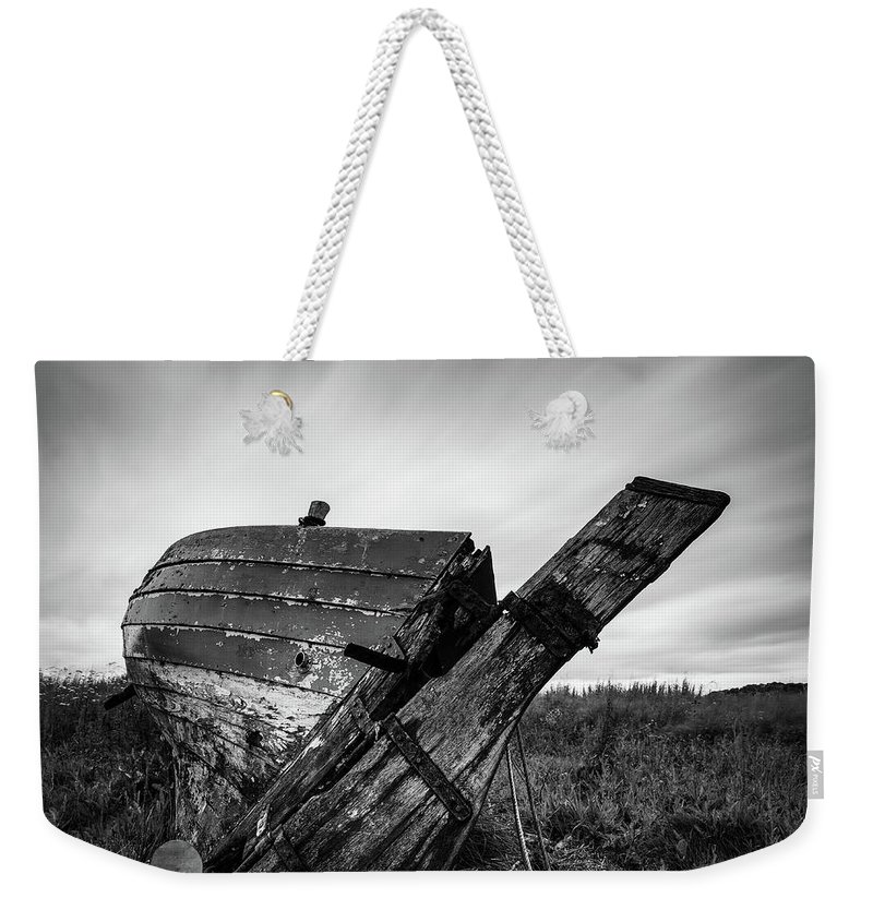Fishing Boat Weekender Tote Bag featuring the photograph St Cyrus Wreck by Dave Bowman