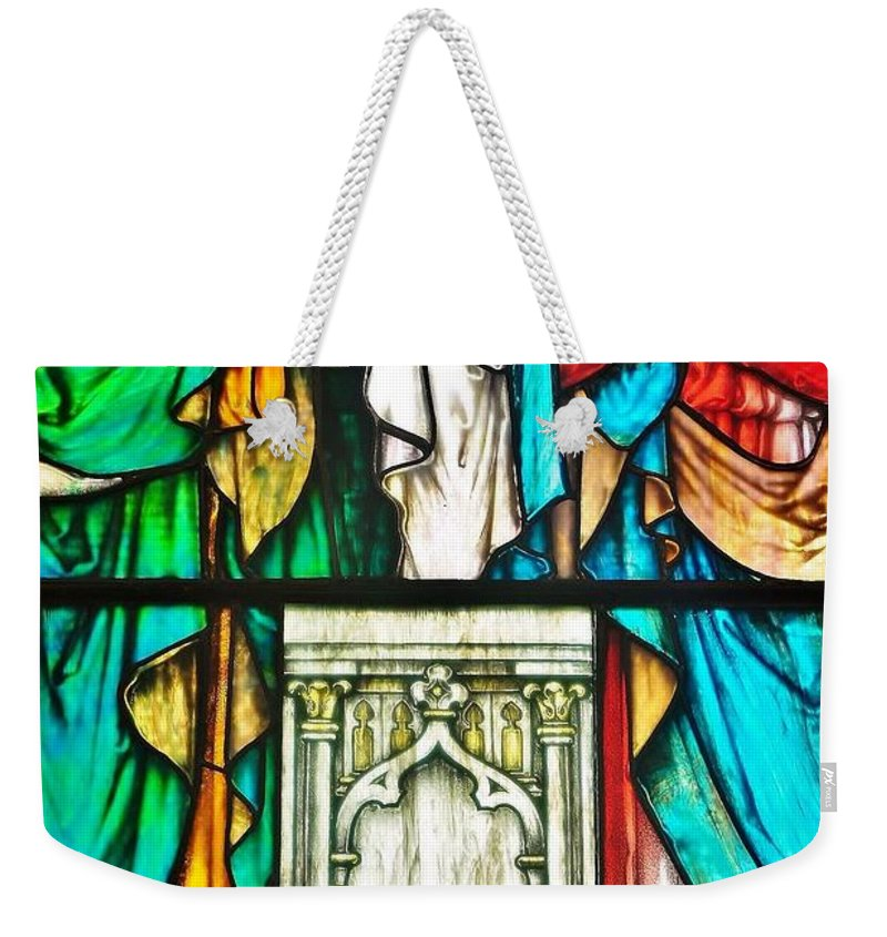 Stained Glass Weekender Tote Bag featuring the photograph St. Edmond's Church Stained Glass Window - Rehoboth Beach Delaware by Kim Bemis