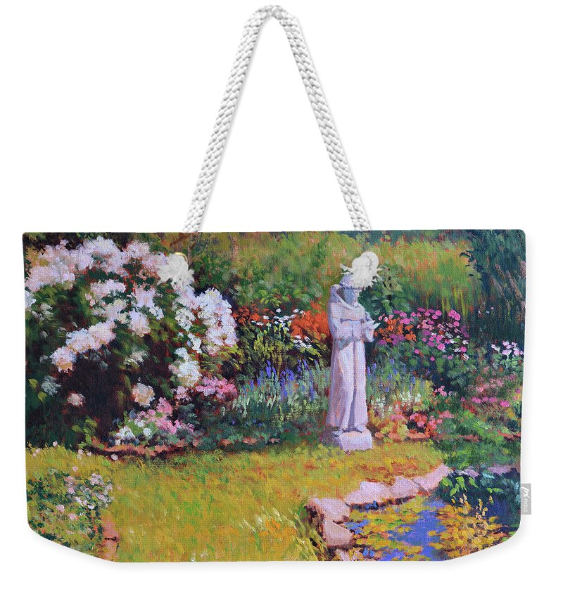 St. Francis Weekender Tote Bag featuring the painting St. Francis In The Garden by Keith Burgess