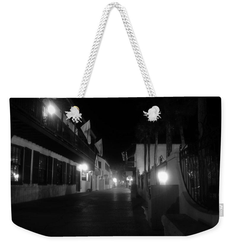 St. Augustine Florida Weekender Tote Bag featuring the photograph St. George Street Ghosts by David Lee Thompson