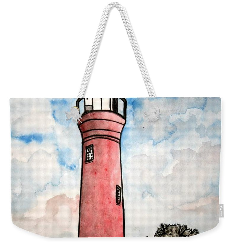 Lighthouse Weekender Tote Bag featuring the painting St Johns River Lighthouse Florida by Derek Mccrea