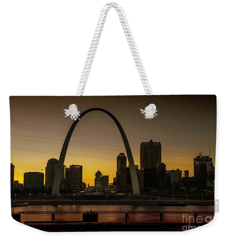St Louis Weekender Tote Bag featuring the photograph St Louis Arch At Sunset by Randy Kostichka