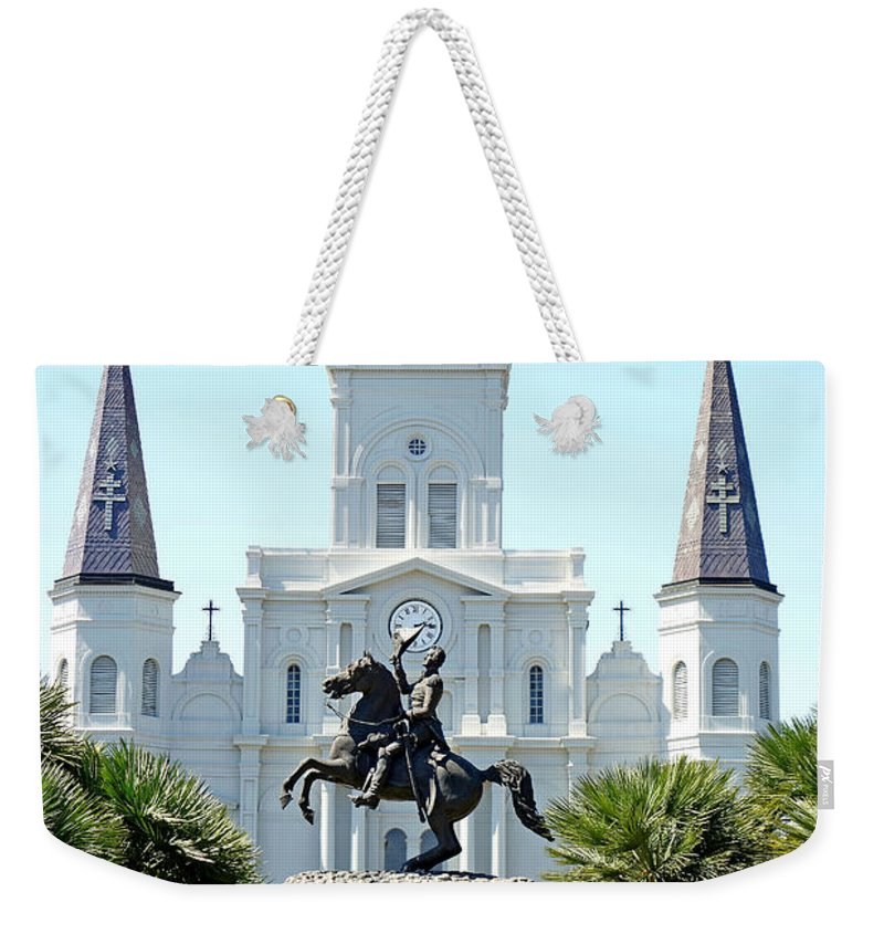 St. Louis Cathedral Weekender Tote Bag featuring the photograph St. Louis Cathedral From Jackson Square by Robert Meyers-Lussier