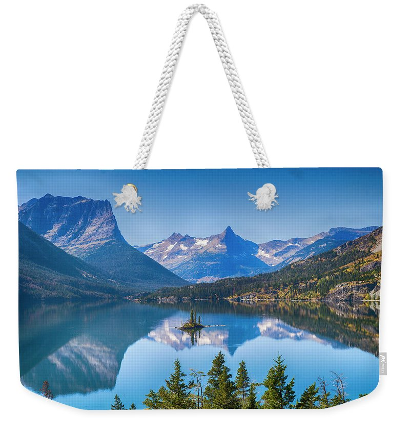 Lake Weekender Tote Bag featuring the photograph St Mary Lake by Bryan Spellman