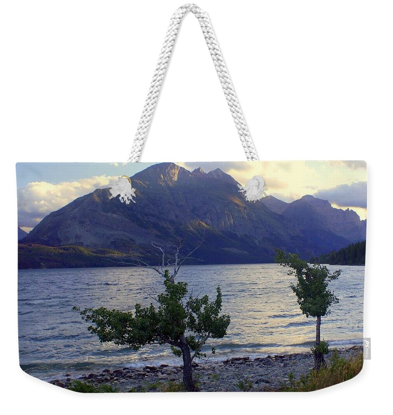 St. Mary's Lake Weekender Tote Bag featuring the photograph St. Mary Lake by Marty Koch