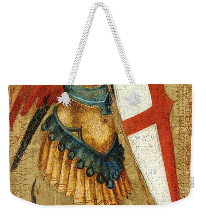 Painting Weekender Tote Bag featuring the painting St Michael And The Dragon by Mountain Dreams
