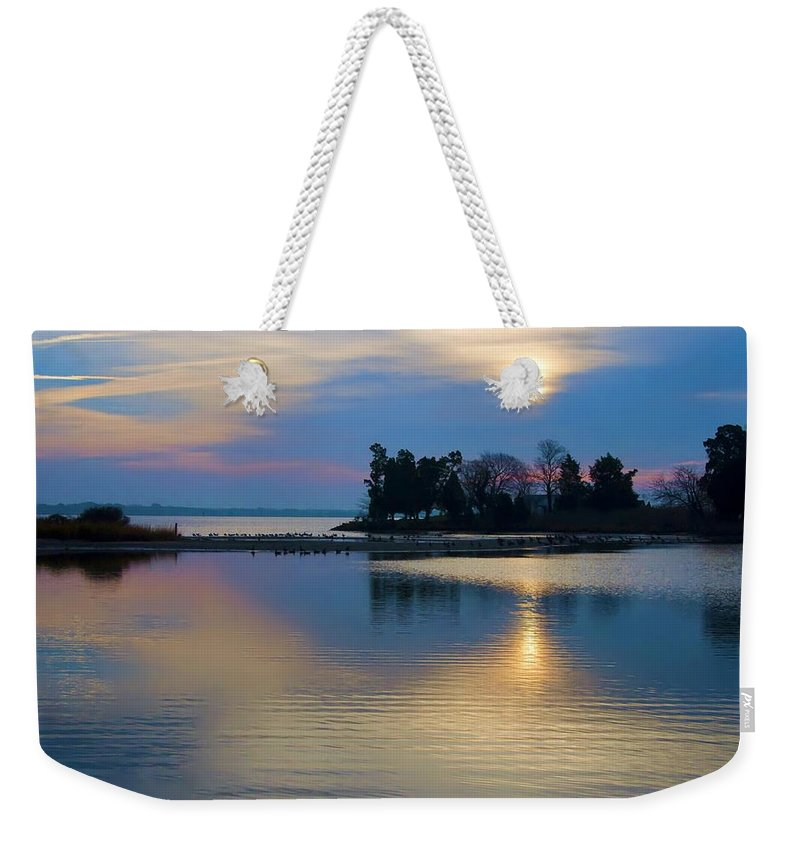 St Michaels Weekender Tote Bag featuring the photograph St. Michael's Sunrise by Bill Cannon