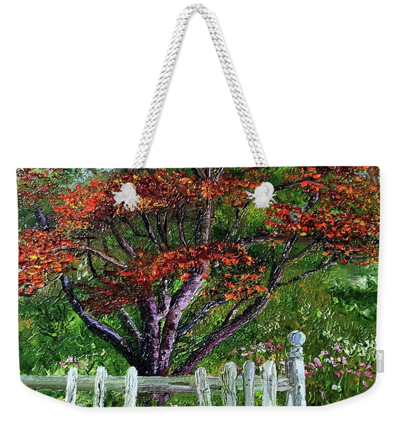 Landscape Weekender Tote Bag featuring the painting St. Michael's Tree by Terry R MacDonald