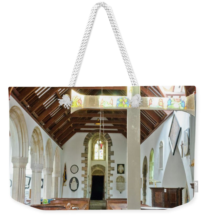 Sy Mylor Weekender Tote Bag featuring the photograph St Mylor Altar Cross by Terri Waters