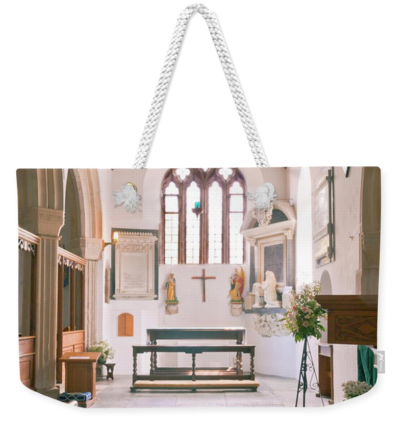 St Mylor Weekender Tote Bag featuring the photograph St Mylor South Aisle Chapel. by Terri Waters