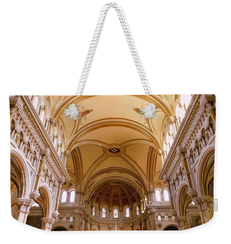 Architecture Weekender Tote Bag featuring the photograph St. Nicholas Of Tolentine Church - II by Arlane Crump