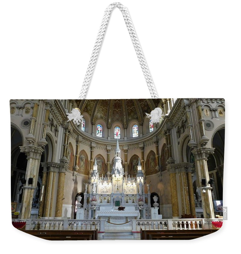 St Nicholas Weekender Tote Bag featuring the photograph St. Nicholas Of Tolentine Church - IIi by Arlane Crump