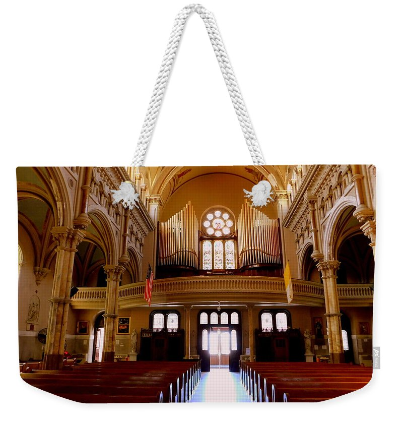 Pipe Organ Weekender Tote Bag featuring the photograph St. Nicholas Of Tolentine Church - Iv by Arlane Crump