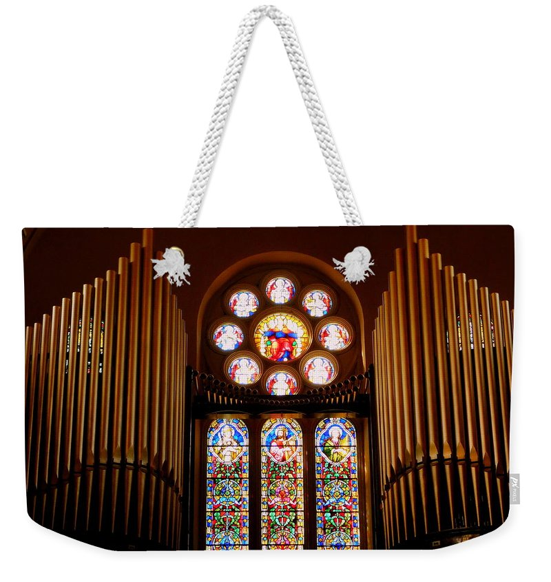 Pipe Organ Weekender Tote Bag featuring the photograph St. Nicholas Of Tolentine Church - V by Arlane Crump