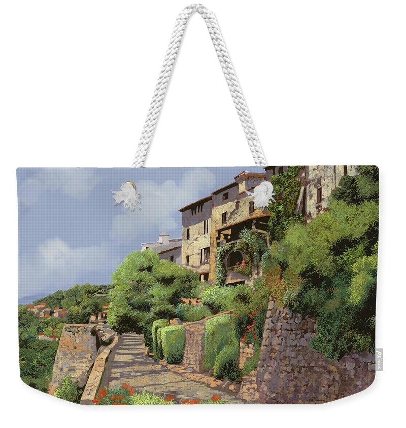 Landscape Weekender Tote Bag featuring the painting St Paul De Vence by Guido Borelli