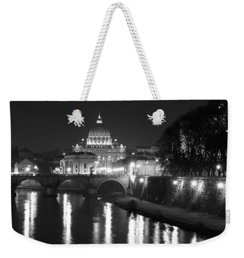 Italy Weekender Tote Bag featuring the photograph St. Peters At Night by Donna Corless