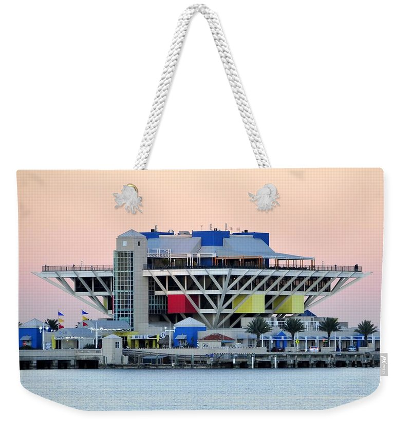 Pier Weekender Tote Bag featuring the photograph St. Petersburg Pier by David Lee Thompson
