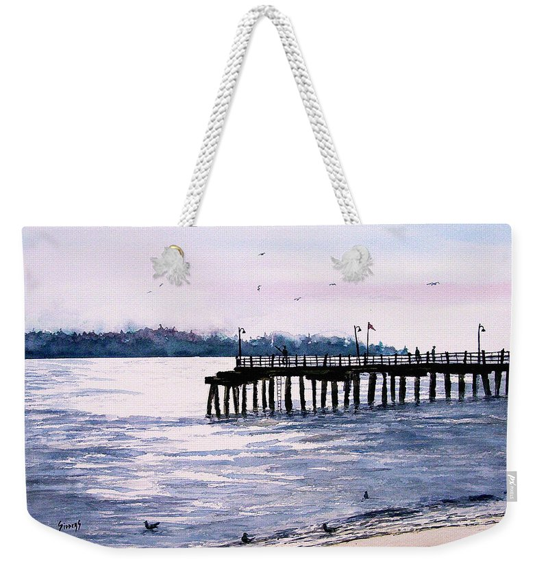 Fishing Weekender Tote Bag featuring the painting St. Simons Island Fishing Pier by Sam Sidders