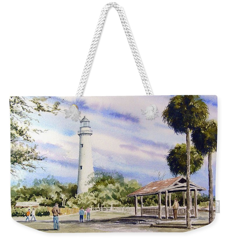 Lighthouse Weekender Tote Bag featuring the painting St. Simons Island Lighthouse by Sam Sidders
