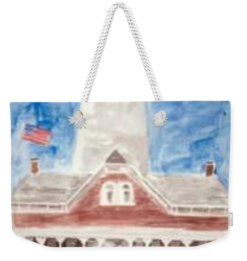 Watercolor Landscape Lighthouse Seascape Painting Weekender Tote Bag featuring the painting St Simons Lighthouse Nautical Painting Print by Derek Mccrea