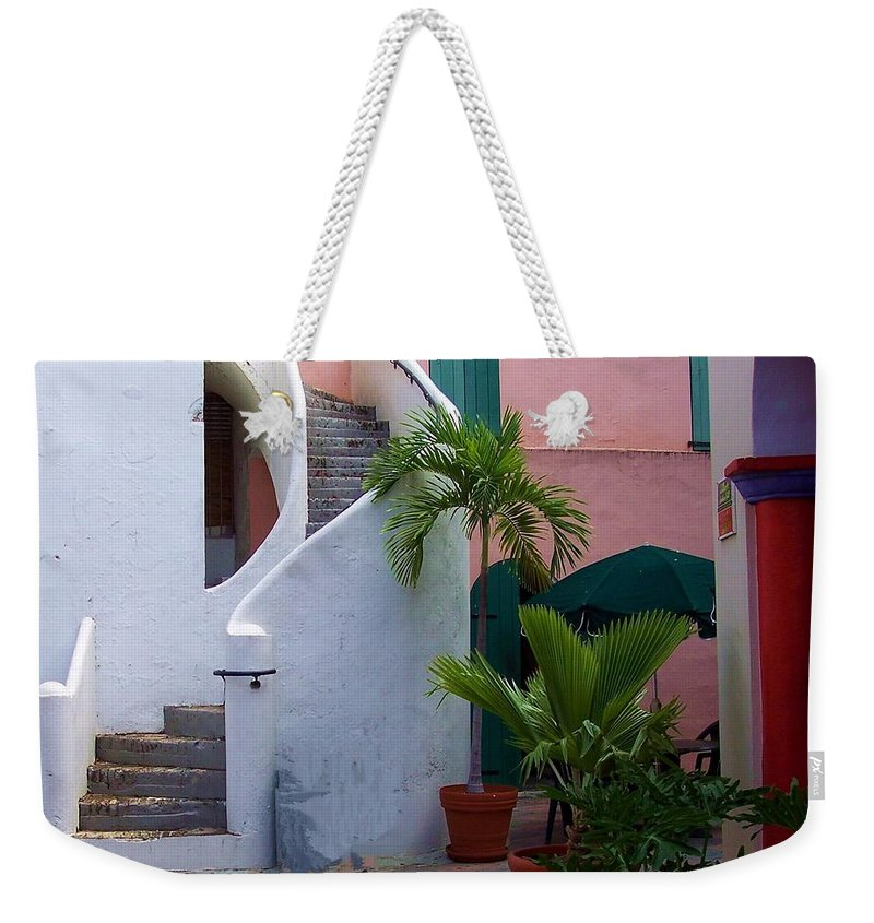 Architecture Weekender Tote Bag featuring the photograph St. Thomas Courtyard by Debbi Granruth