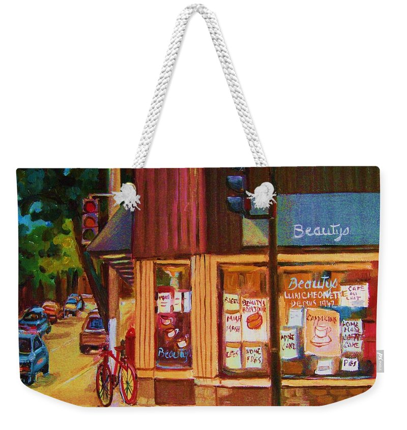 Beautys Weekender Tote Bag featuring the painting St Urbain And Mount Royal by Carole Spandau