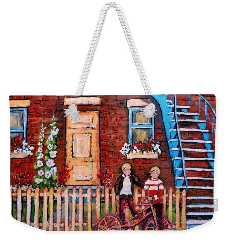 Montreal Neighborhoods Weekender Tote Bag featuring the painting St. Urbain Street Boys by Carole Spandau