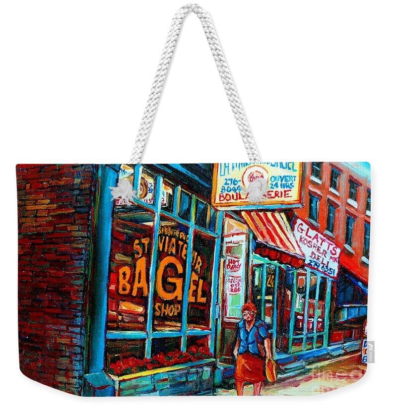 St Weekender Tote Bag featuring the painting St. Viateur Bagel Bakery by Carole Spandau