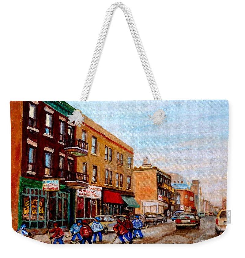 St.viateur Bagel Weekender Tote Bag featuring the painting St. Viateur Bagel Hockey Game by Carole Spandau