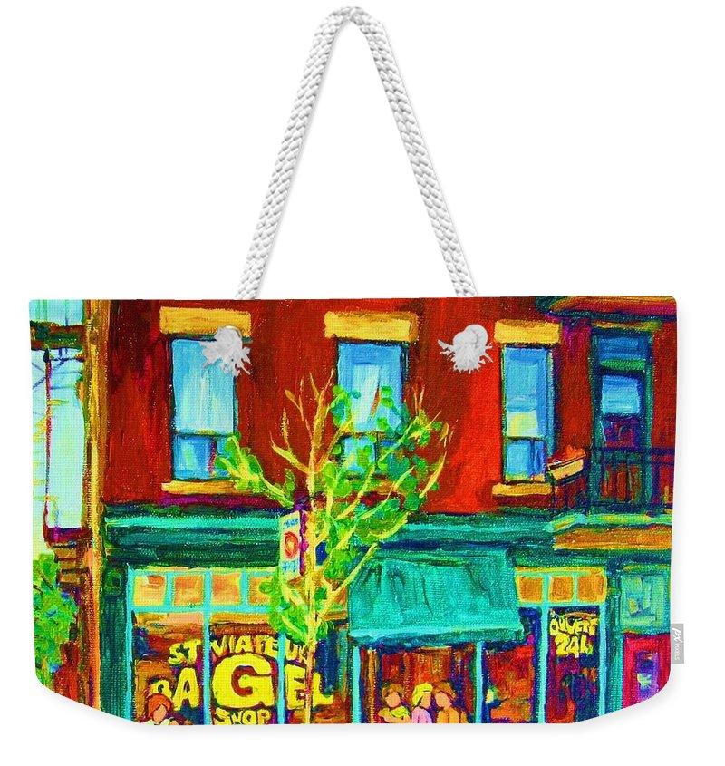 St. Viateur Bagel Shop Weekender Tote Bag featuring the painting St Viateur Bagel Shop by Carole Spandau