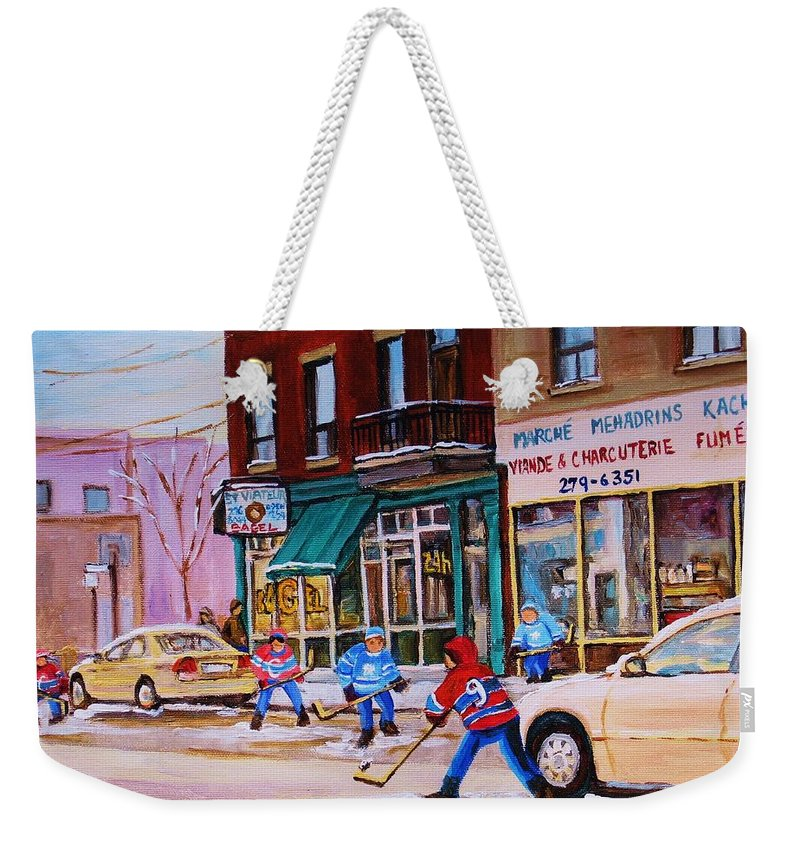Montreal Weekender Tote Bag featuring the painting St. Viateur Bagel with boys playing hockey by Carole Spandau