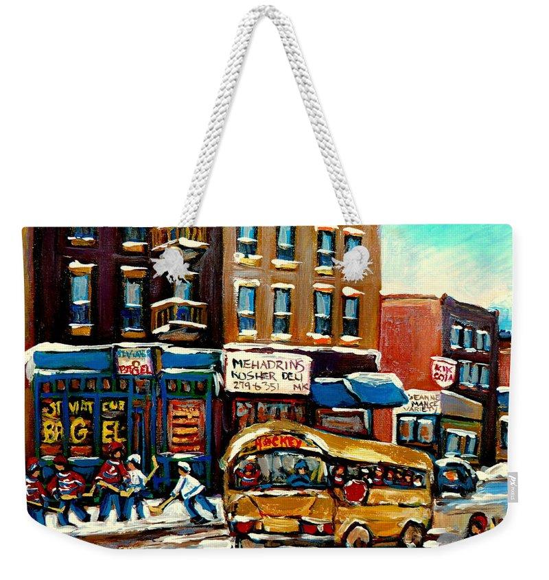 St. Viateur Bagel With Hockey Bus Weekender Tote Bag featuring the painting St. Viateur Bagel With Hockey Bus by Carole Spandau