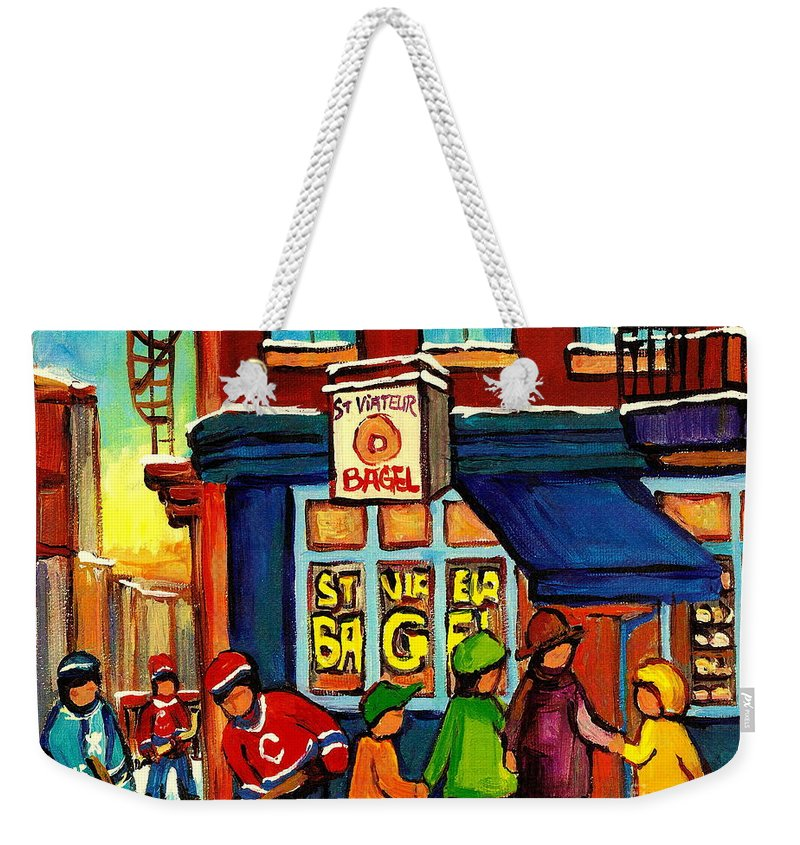 Monteeal Weekender Tote Bag featuring the painting St. Viateur Bagel With Hockey by Carole Spandau