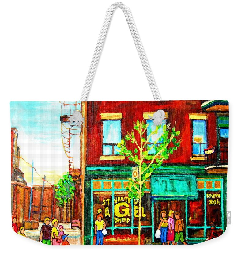 Cityscapes Weekender Tote Bag featuring the painting St. Viateur Bagel With Shoppers by Carole Spandau