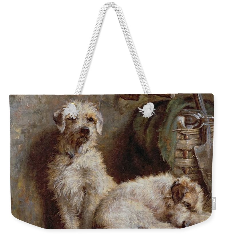 Dogs; Terriers; Tools; Stable; Basket; Spade; Lantern; Bottle; Horseshoe Weekender Tote Bag featuring the painting Stablemates by John Fitz Marshall