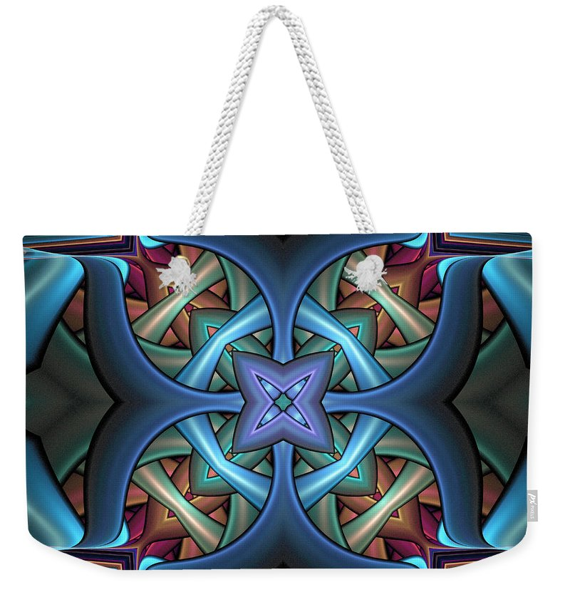 Digital Art Weekender Tote Bag featuring the digital art Stacked Kaleidoscope by Amanda Moore