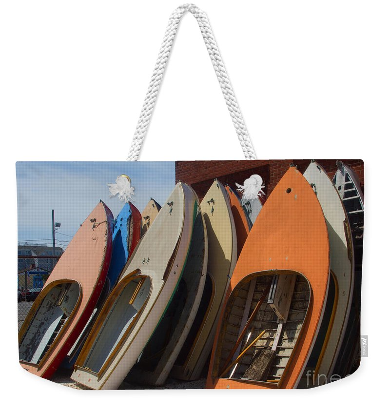 Boat Weekender Tote Bag featuring the photograph Stacked by Ray Konopaske