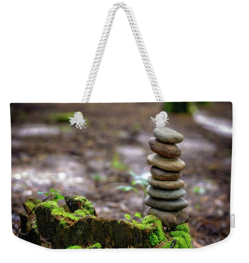 Stacked Stones Weekender Tote Bag featuring the photograph Stacked Stones And Fairy Tales by Marco Oliveira
