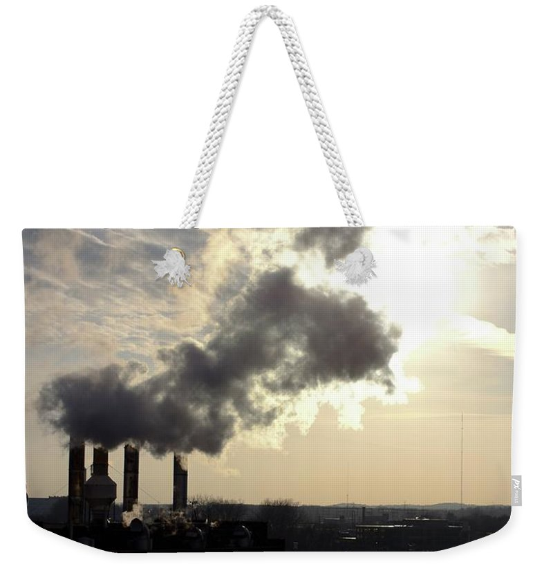 Urban Weekender Tote Bag featuring the photograph Stacks by Jordan Mayle