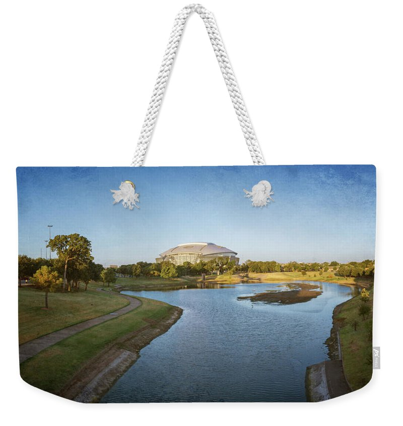 Joan Carroll Weekender Tote Bag featuring the photograph Stadium And Park Panorama Bleach Bypass by Joan Carroll