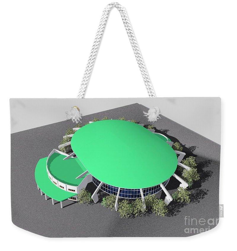 Building Rendering Weekender Tote Bag featuring the digital art Stadium Model by Ron Bissett