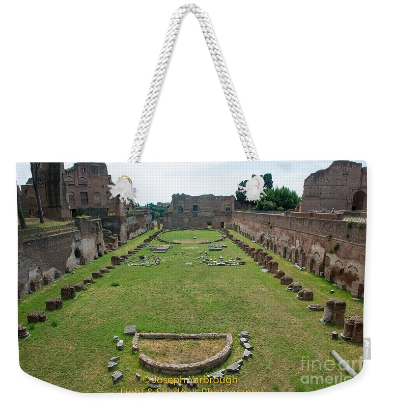 Campus Martius Weekender Tote Bag featuring the photograph Stadium Of Domitian by Joseph Yarbrough