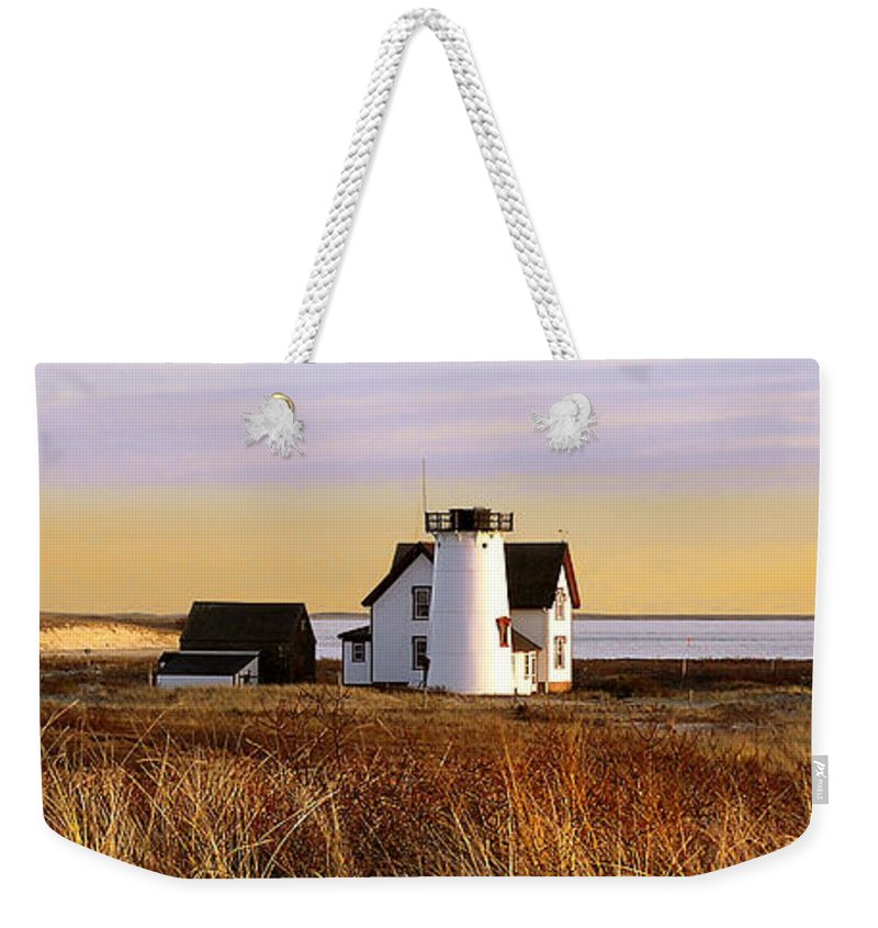 Stage Harbor Weekender Tote Bag featuring the photograph Stage Harbor Lighthouse Chatham by Charles Harden