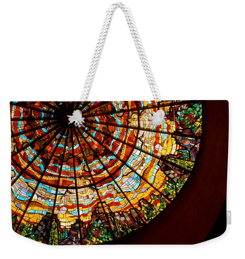 Stained Glass Weekender Tote Bag featuring the photograph Stained Glass Ceiling by Jerry McElroy
