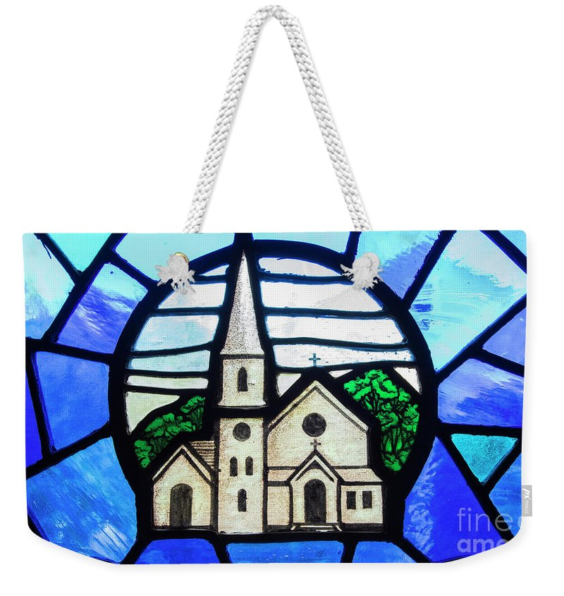 Biblical Weekender Tote Bag featuring the photograph Stained Glass Church by Juli Scalzi