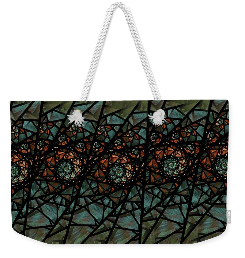 Fractal Weekender Tote Bag featuring the digital art Stained Glass Floral I by Amorina Ashton